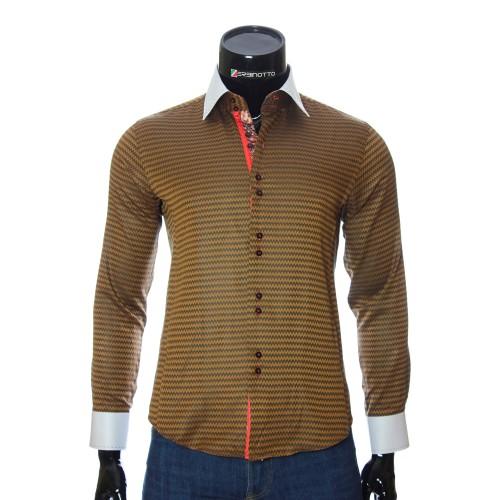 Мужская приталенная рубашка в узор BEL 1446