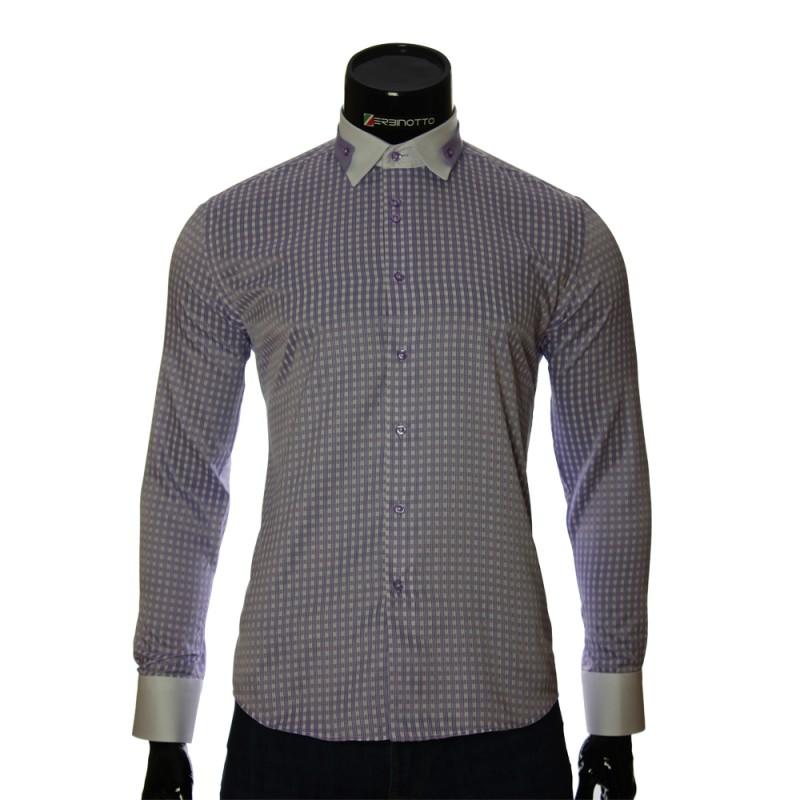 Мужская приталенная рубашка в клетку NP 1570-3