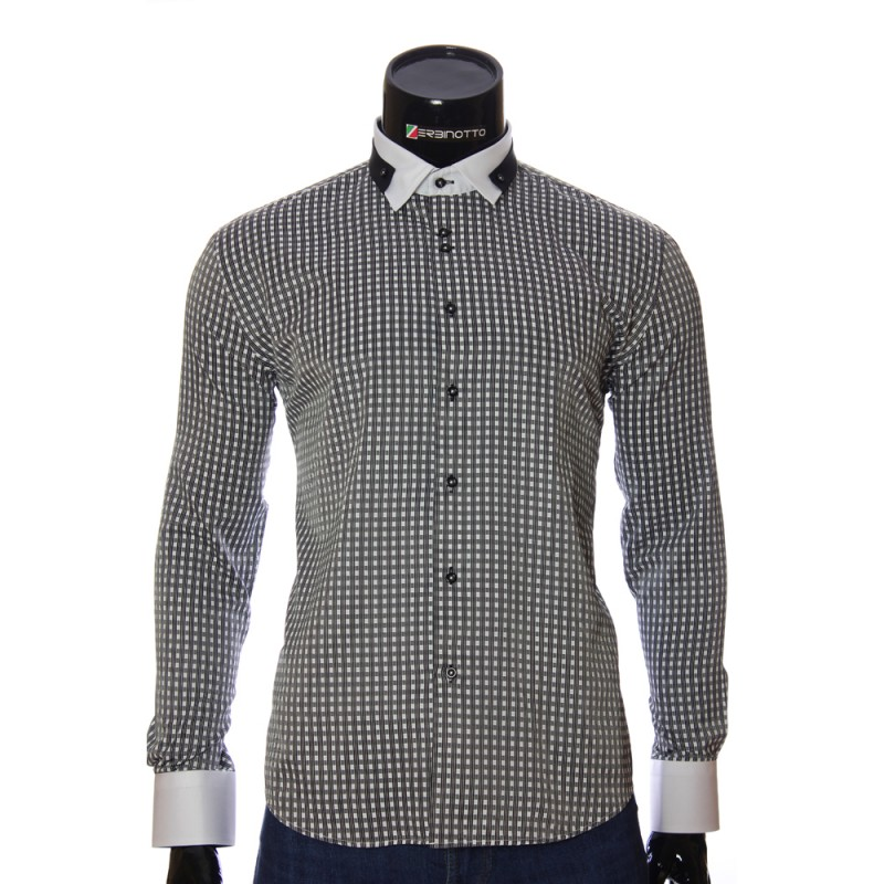 Мужская приталенная рубашка в клетку NP 1570-6