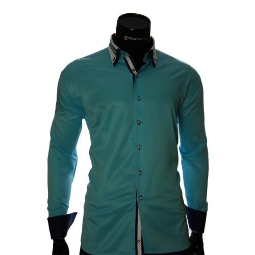 Мужская однотонная приталенная рубашка VV 1771-3
