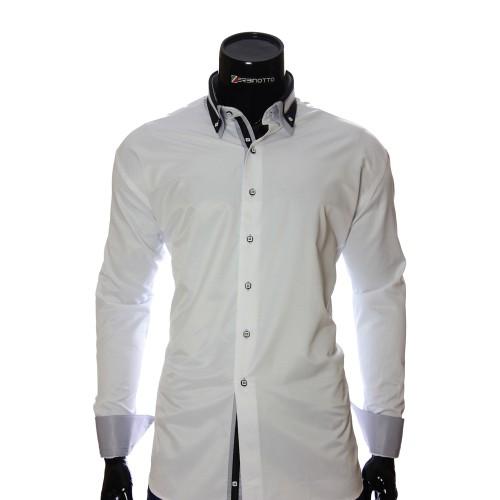 Мужская однотонная приталенная рубашка VV 1771-5