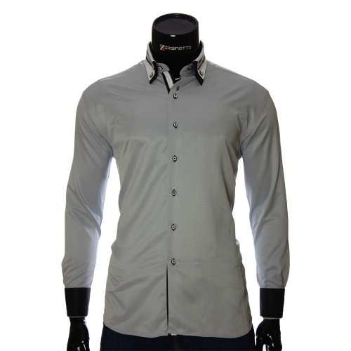 Чоловіча однотонна приталена сорочка VV 1771-6