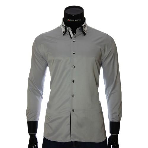 Мужская однотонная приталенная рубашка VV 1771-6