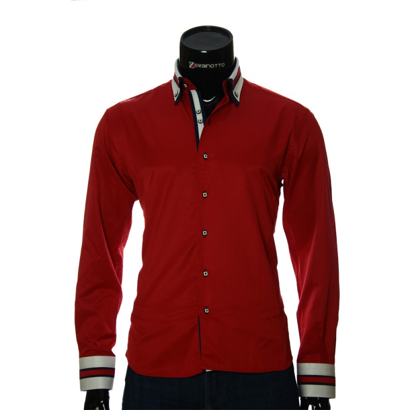 874fbf281a9b Мужская красная рубашка с белыми вставками и с двойным воротником.