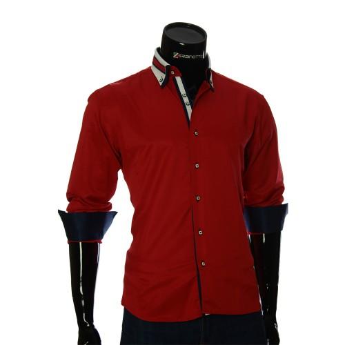 Мужская однотонная приталенная рубашка VV 1771-7