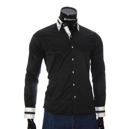 Мужская однотонная приталенная рубашка VV 1771-8