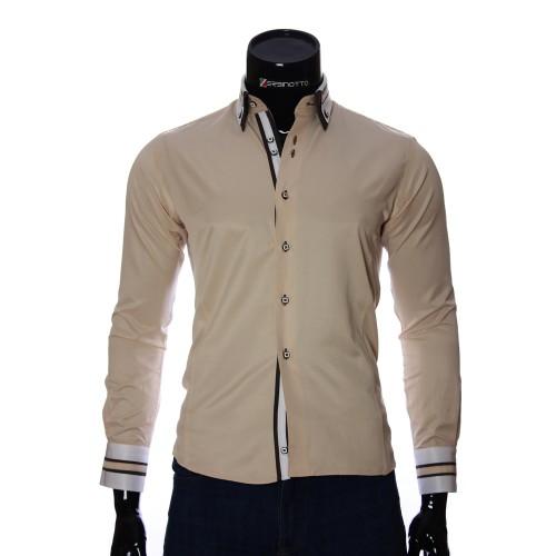 Мужская однотонная приталенная рубашка VV 1771-9