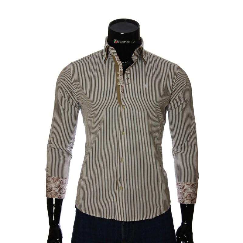 Мужская приталенная рубашка в полоску BAL 1823-2