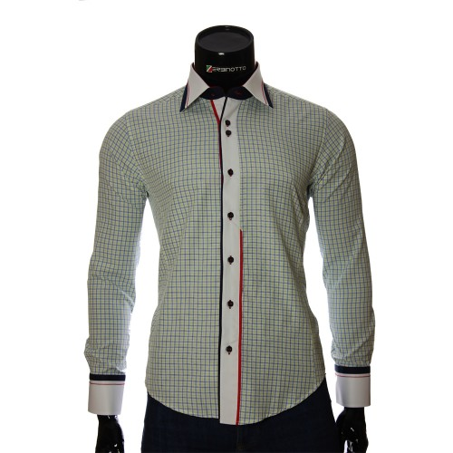 Мужская приталенная рубашка в клетку BEL 1840-7