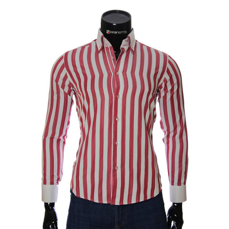 Мужская приталенная рубашка в полоску BEL 1855-1