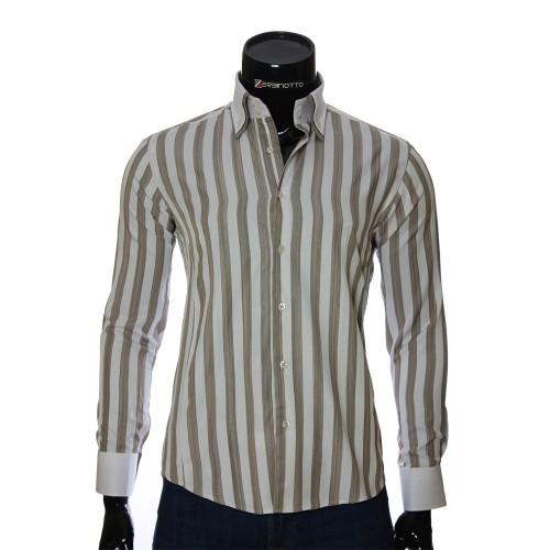 Мужская приталенная рубашка в полоску BEL 1855-4