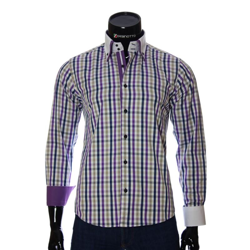Мужская приталенная рубашка в клетку BEL 1855-5