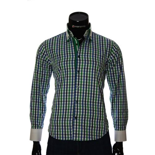 Мужская приталенная рубашка в клетку BEL 1855-6