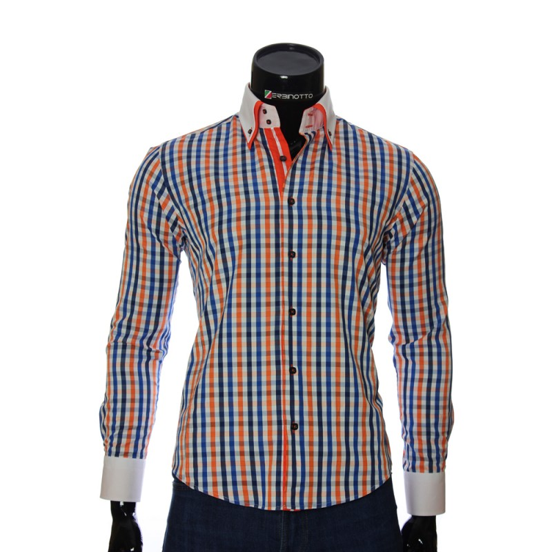 Мужская приталенная рубашка в клетку BEL 1855-7