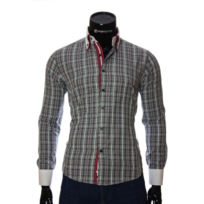Мужская приталенная рубашка в клетку BEL 1855-16