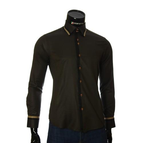 Мужская приталенная рубашка в узор BEL 1856-1