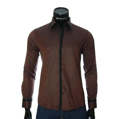 Мужская приталенная рубашка в узор BEL 1856-3