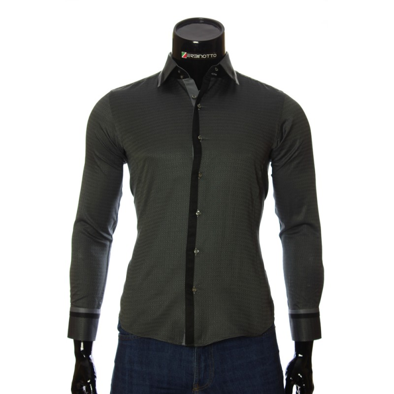 Мужская приталенная рубашка в узор BEL 1856-4