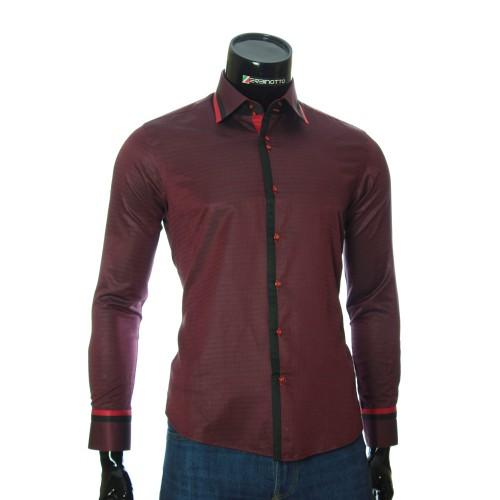 Мужская приталенная рубашка в узор BEL 1856-6