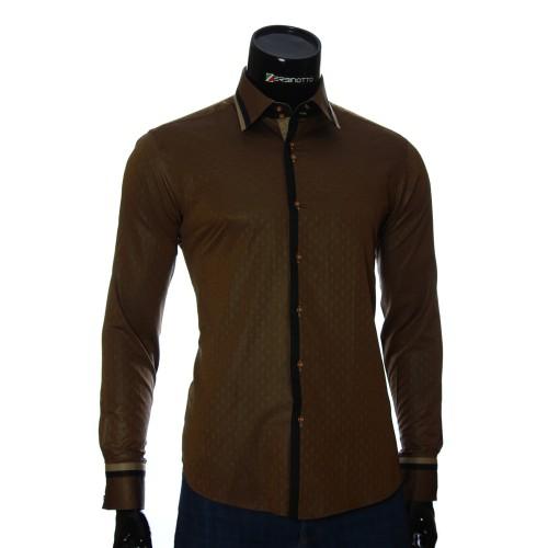 Мужская приталенная рубашка в узор BEL 1856-7