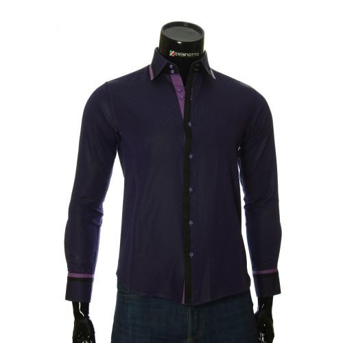 Мужская приталенная рубашка в узор BEL 1856-8