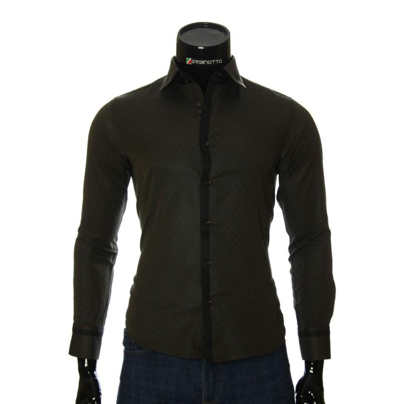 Мужская приталенная рубашка в узор BEL 1856-9