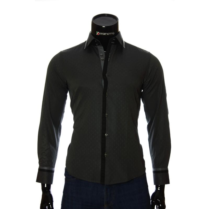 Мужская приталенная рубашка в узор BEL 1856-10