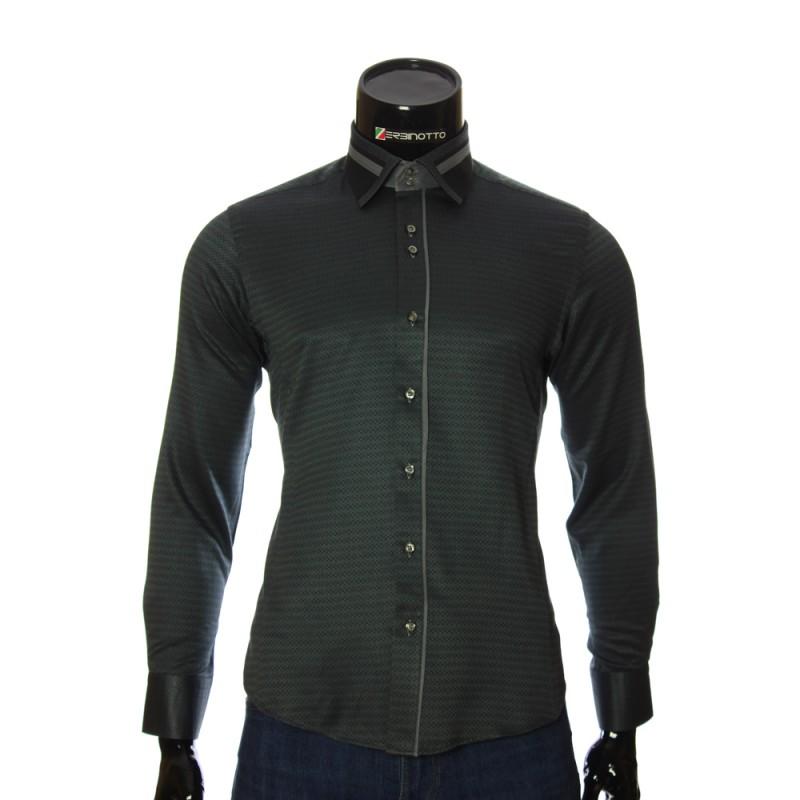 Мужская приталенная рубашка в узор BEL 1857-1