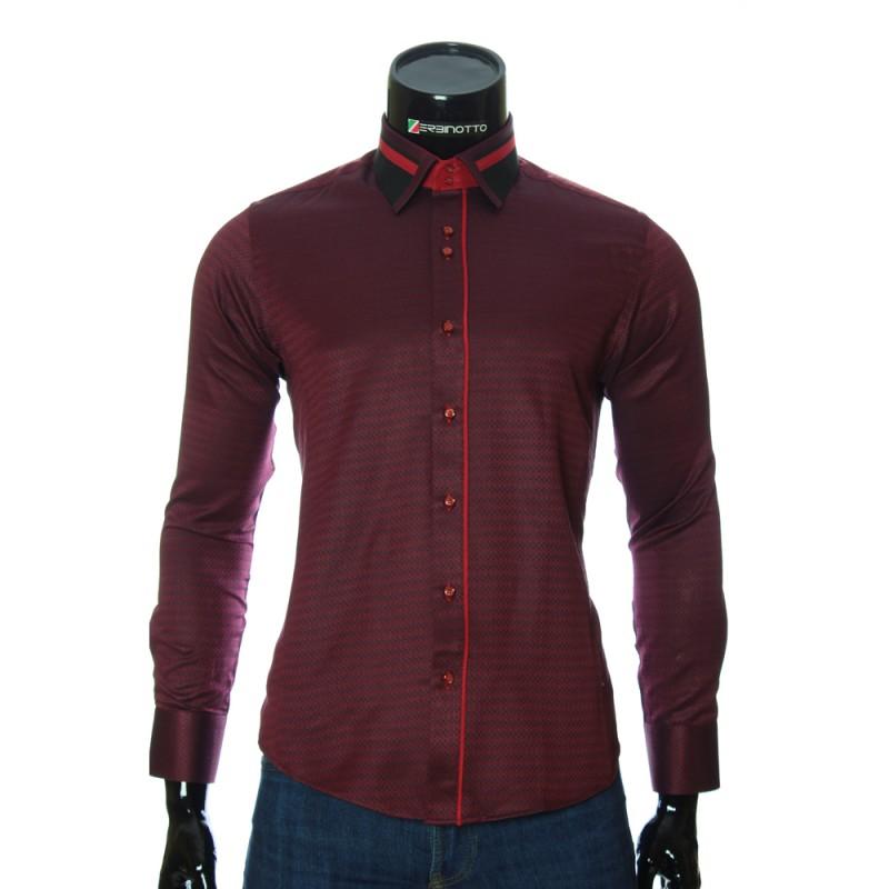 Мужская приталенная рубашка в узор BEL 1857-4