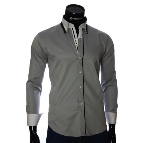 Мужская однотонная приталенная рубашка DS 1858-10