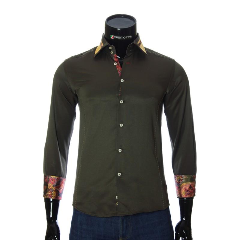 Мужская однотонная приталенная рубашка BEL 1864-11