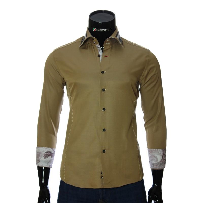 Мужская однотонная приталенная рубашка BEL 1864-24
