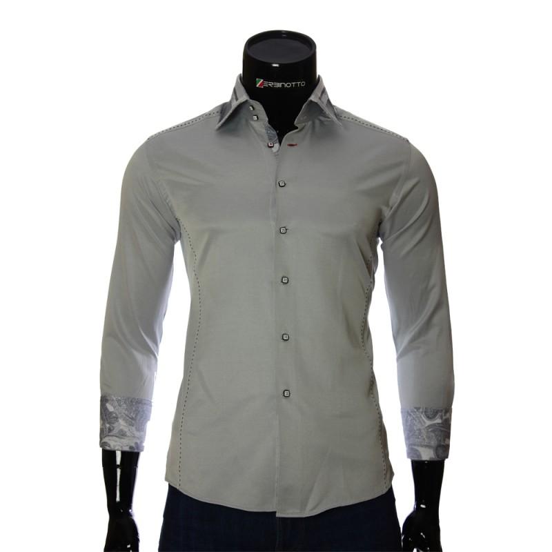 Мужская однотонная приталенная рубашка BEL 1864-27