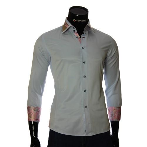 Мужская однотонная приталенная рубашка BEL 1864-29