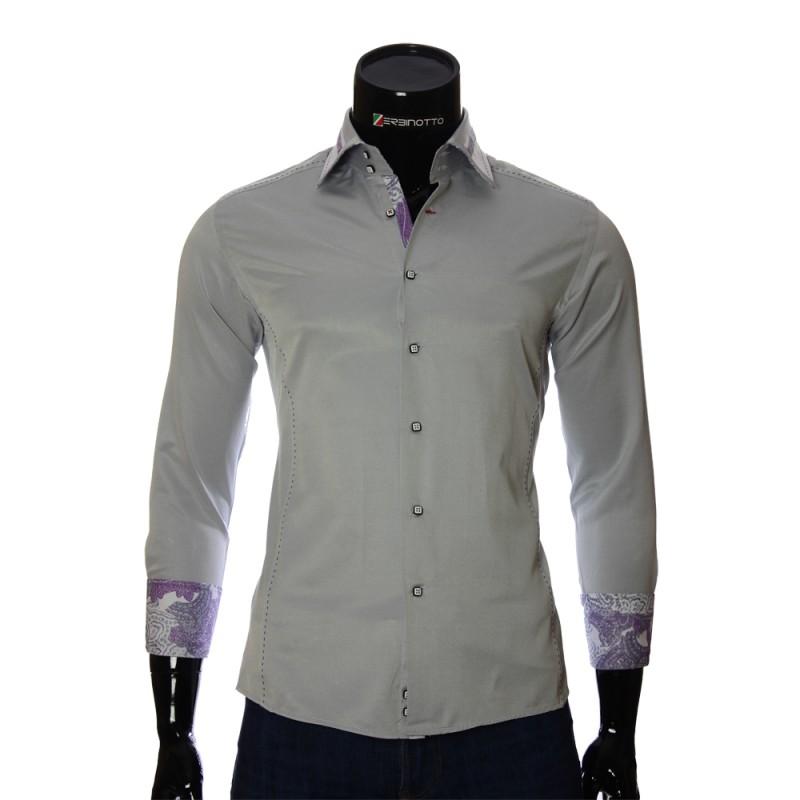 Мужская однотонная приталенная рубашка BEL 1864-31