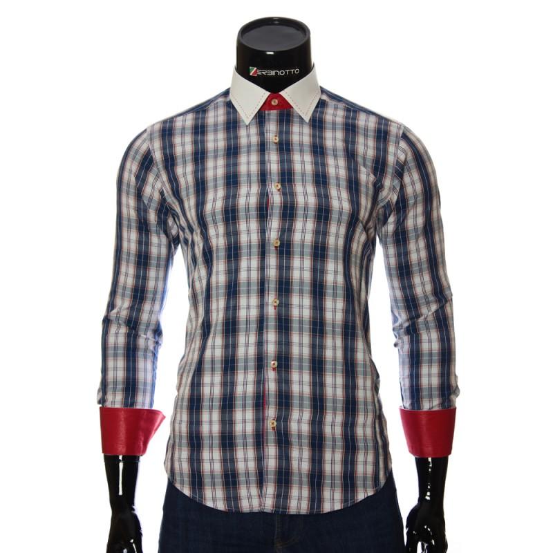 Мужская приталенная рубашка в клетку BEL 1868-1