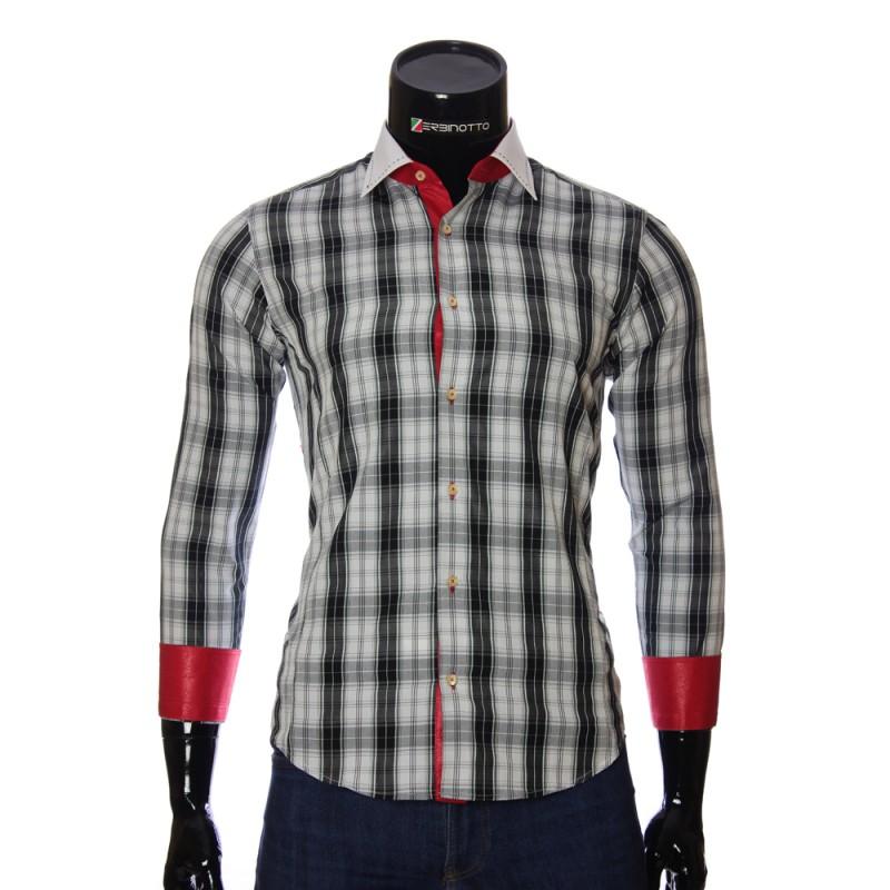 Мужская приталенная рубашка в клетку BEL 1868-4
