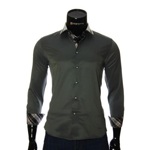 Мужская однотонная приталенная рубашка BEL 1870-3