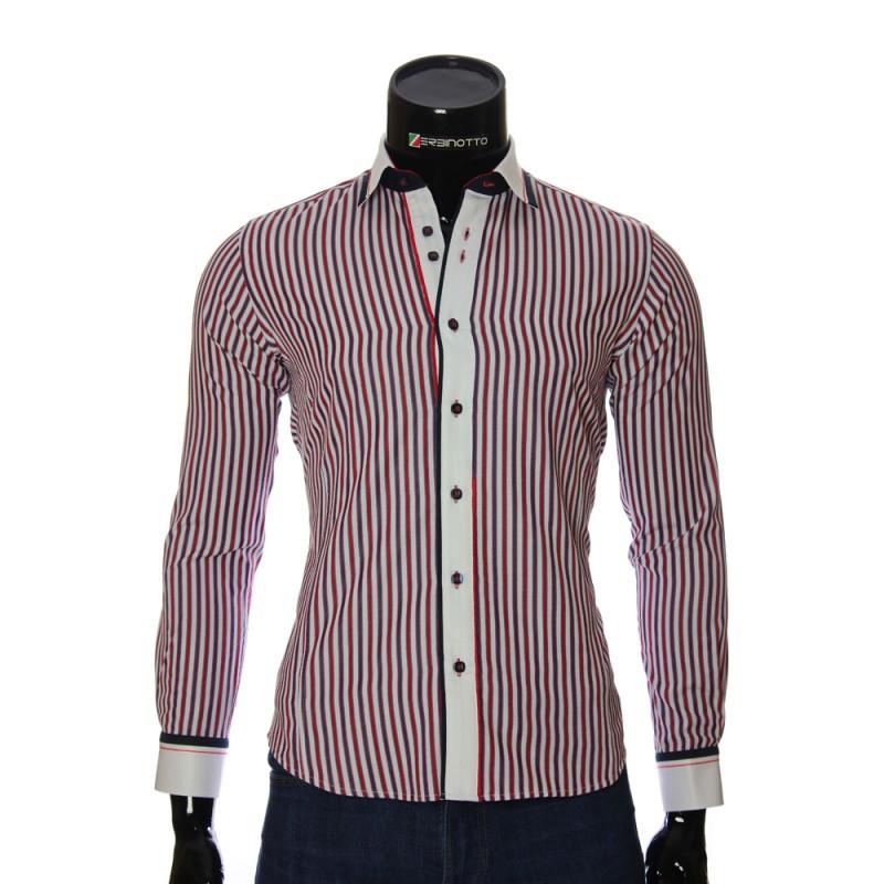 Мужская приталенная рубашка в полоску BEL 1870-5
