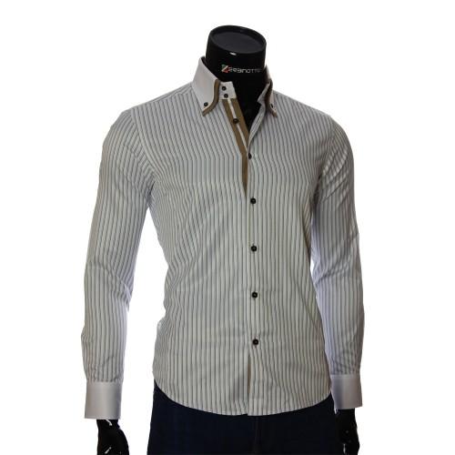 Мужская приталенная рубашка в полоску BEL 1871-1