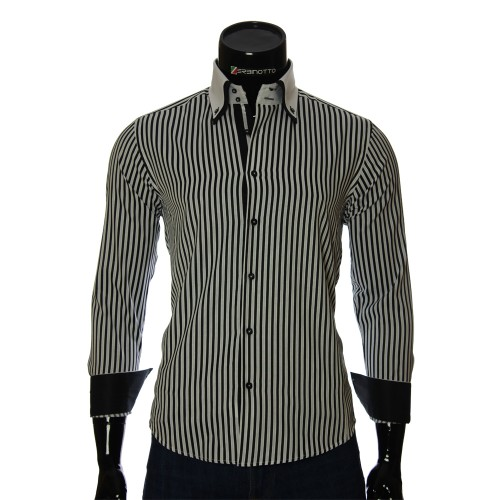 Мужская приталенная рубашка в полоску BEL 1871-2