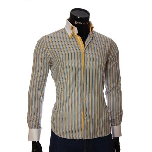 Мужская приталенная рубашка в полоску BEL 1871-11