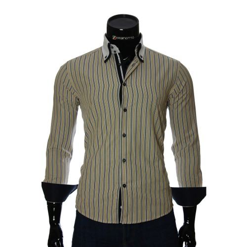 Мужская приталенная рубашка в полоску BEL 1871-17