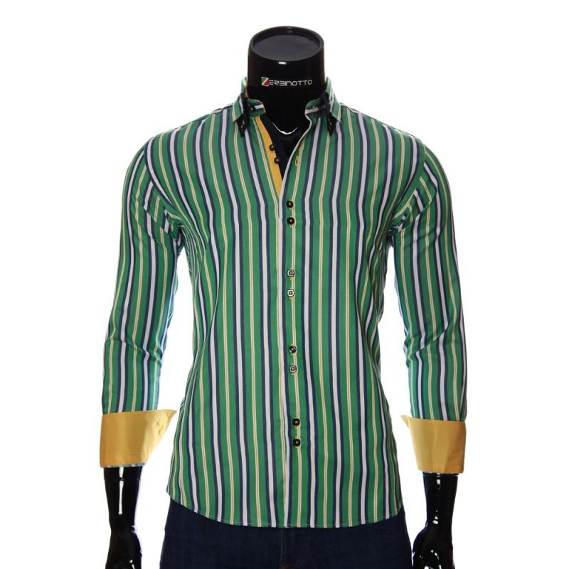 Мужская приталенная рубашка в полоску BEL 1878-4