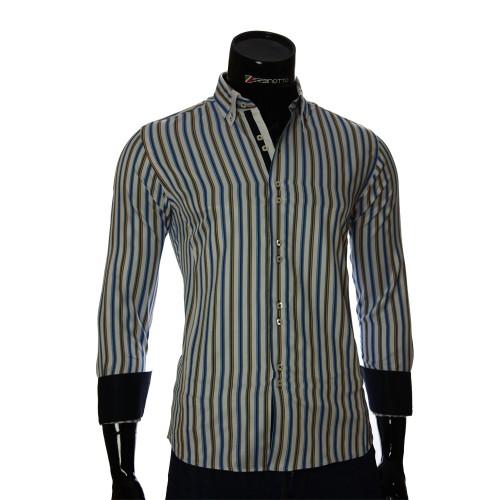 Мужская приталенная рубашка в полоску BEL 1878-9