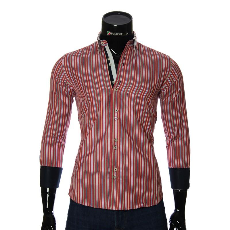 Мужская приталенная рубашка в полоску BEL 1878-11