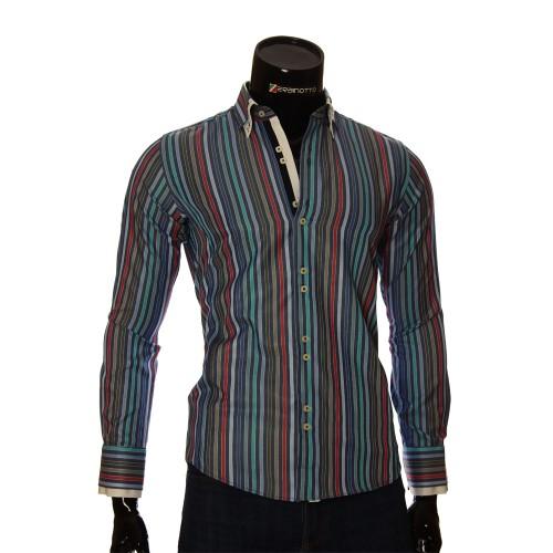 Мужская приталенная рубашка в полоску BEL 1878-19