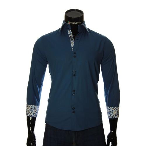 Мужская однотонная приталенная рубашка LG 1879-7