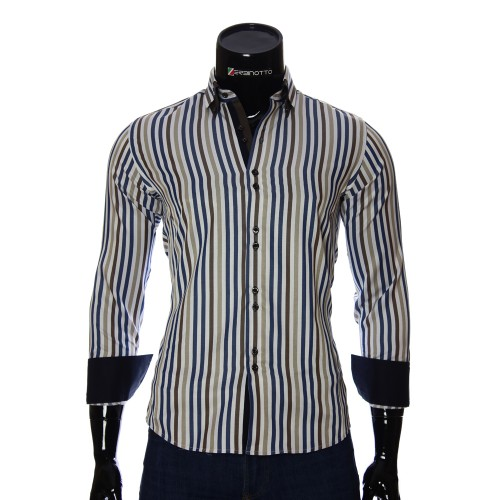 Мужская приталенная рубашка в полоску BEL 1880-5