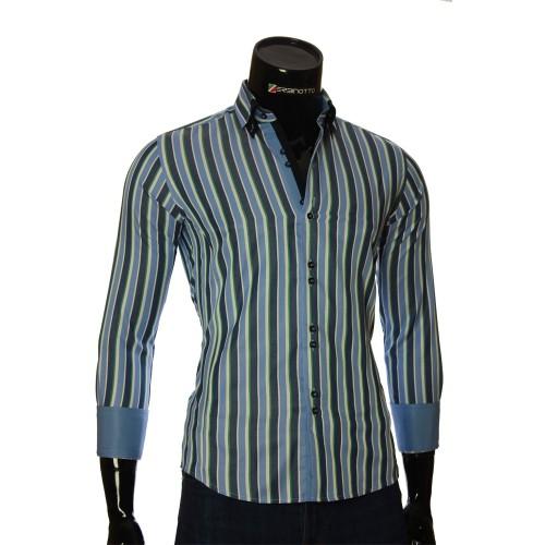 Мужская приталенная рубашка в полоску BEL 1880-9